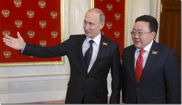 Putin and former Mongolian President E.